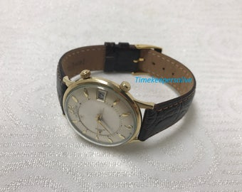 Vintage 1950's LeCoultre Memodate Hand-winding 10k Gold Filled Alarm Wrist Watch