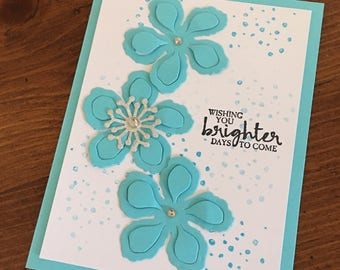 Homemade Sympathy Card - flower encouragement card - beautiful flower sympathy card - loss of a loved one - encouraging card