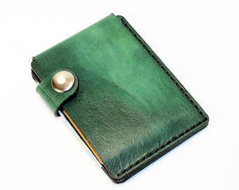 Green leather wallet, credit card wallet, mini wallet, handmade wallet, leather wallet, business card holder