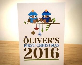 Baby Boys First Christmas Card - Blank Greeting Card - Christmas Art - Christmas Card - Blank