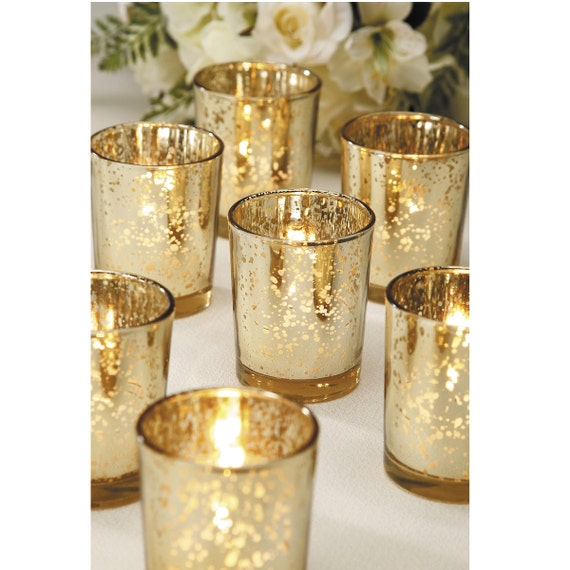 sale 60 gold mercury glass votive candle holders bulk lot. Black Bedroom Furniture Sets. Home Design Ideas