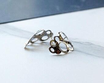 Unique Silver Post Earrings, Geometric Gold Earrings, Bridal Silver Earrings , Post Earrings, Architectural Earrings, Stunning Earrings