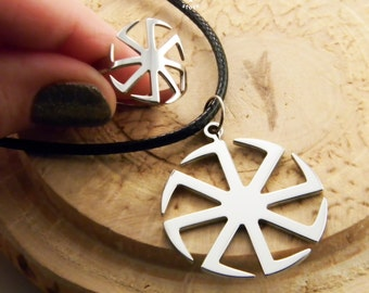 Set - Kolovrat ring & Kolovrat pendant (free shipping) - Slavic symbol of the sun - stainless steel