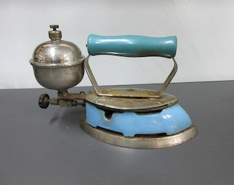 Vintage Coleman Blue & Chrome Gas Iron