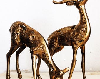 set of vintage brass deer figurines