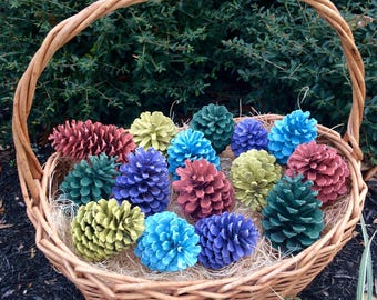 Colorful Spring Painted Pinecones - Bag of 15 pieces