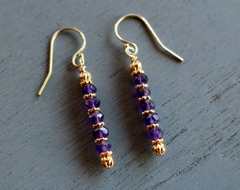 Amethyst Earrings, Amethyst and Gold Beaded Earrings, February Birthstone Earrings, Gift For Her, Boho Chic Gemstone Earrings,