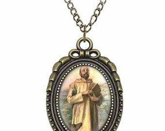 St William of Vercelli Catholic Necklace Bronze Medal w Chain Oval Pendant Saint Vintage