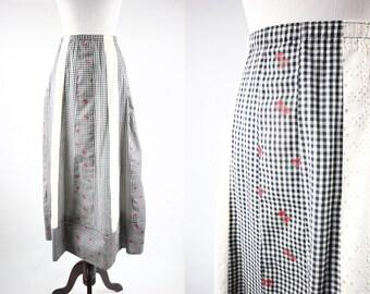 1970's Cotton Strawberry Gingham Eyelet Midi Skirt