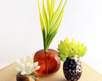 Set of 3 Miniature Vases - Tropical Amber and Gemstone Succulents