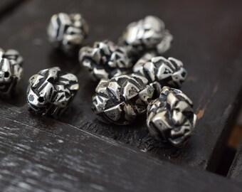 Vintage Antiqued Silver Nugget Beads, 12pcs