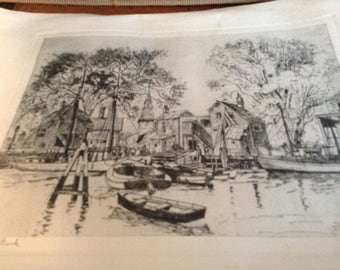 Vintage Reproduction Print old Red Bank