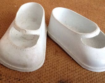 Vintage White Slip on Doll Shoes