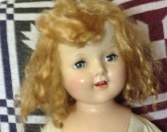 """Vintage 22"""" Girl Doll Two Teeth Unmarked"""