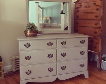 Tan Vintage Dresser amd Mirror