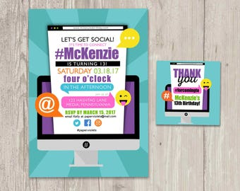 Social Media Birthday Invitations, Computer Invitation, Let's Get Social Birthday with FREE matching favor tags | Printable