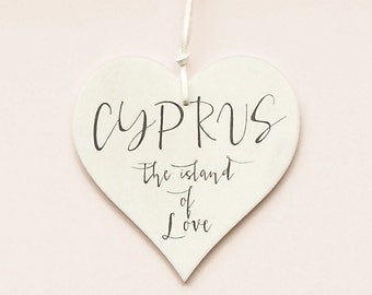 """Wooden Heart Message """"Cyprus The Island Of Love"""""""