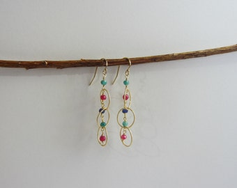 Ruby, Sapphire and Emerald 14K Gold Filled Circle Dangle Earrings