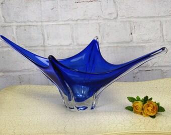 Italian Kobalt Blue Bowl Dish Centerpiece era Murano Seguso Art Glass Beautiful