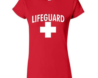 Lifeguard WOMAN TSHIRT WHITE Logo Beach Tee Shirt California Beaches S.O.S. Life Guard Sos Lady