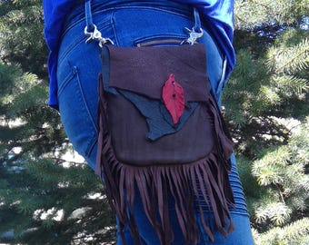 Rustic Deerskin Belt Loop Hip Bag with Fringe, Black and Chocolate Brown