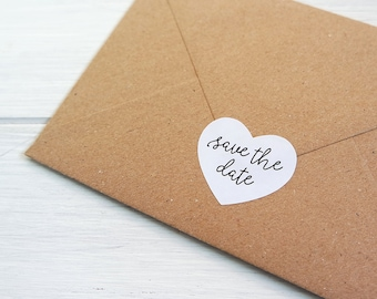 32 Save The Date Heart Stickers Labels Wedding Invitation Envelope Seals / 1.5 inch Heart Stickers / 254