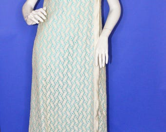 Vintage Estate White Lace Maxi Dress with Blue Lining Pockets Summer Wedding Day Dress