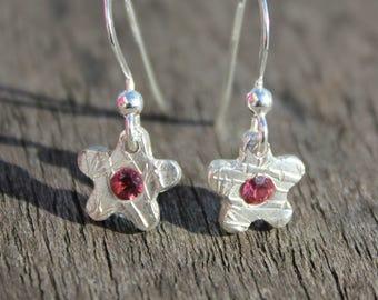 Tiny garnet earrings, tiny silver garnet earrings, garnet flower earrings, tiny garnet drop earrings, tiny flower drop earrings