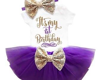 3pc It's My First Birthday Shirt Tutu Headband Outfit White Purple 9-12 Months