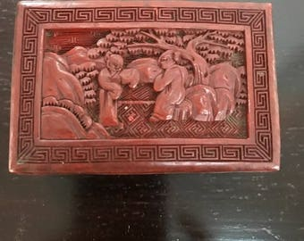 Antique Chinese Cinnabar Red Lacquer Box