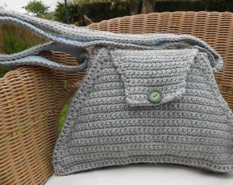 Chunky Grey Triangular Shoulder Bag