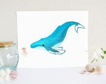 Humpback Whale and Jellyfish Art Print, Whale Art Print, Whale Nursery Art, Ocean Nursery Decor, Ocean Nursery Art Print, Baby's Room Art