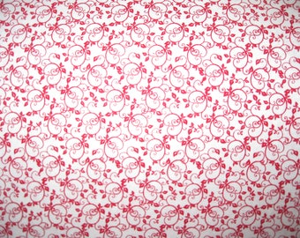 100 percent cotton fabric/red and white/quilting/crafts/apparel