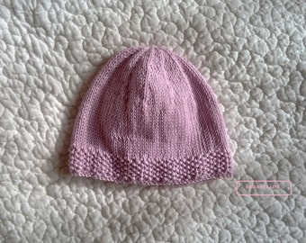 Birth to 1 month Cap 100% cotton pink pastel