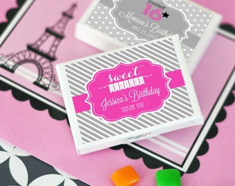 Personalized Sweet 16 or 15 Gum Boxes, (Set of 24)