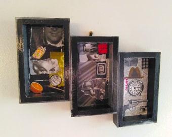 Noir Triptych Shadowbox