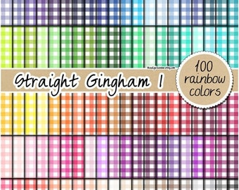 SALE 100 straight gingham digital paper rainbow gingham pattern kitchen print fabric digital paper 12x12 bright colors pastel gingham clipar