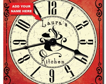 Classic Red Personalized Kitchen Clock