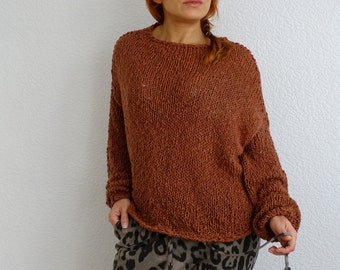 loose knit sweater, knit sweater, loose knit, knit jumper, loose sweater, cotton sweater, bulky, brown, oversize sweater, made to order