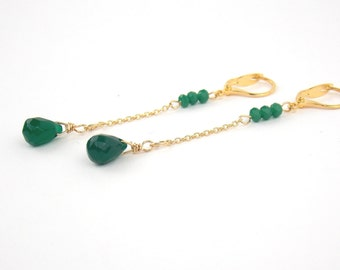 DROPS - Agate and Gold filled Long Earrings and Semi-Precious Stones