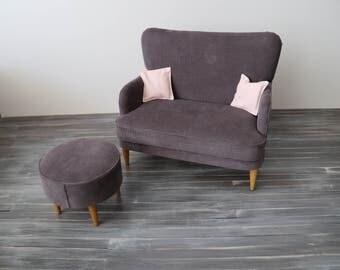 1/4 Scale Pinwale Corduroy Mid-Century Modern Sofa in Dark Grey