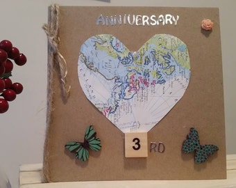 3rd Anniversary Card with Butterflies & Vintage Map : Handmade Card for Third Wedding Anniversary - Girlfriend Wife Husband Boyfriend