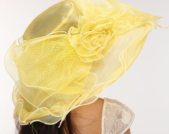 "7"" Wide Brim  One Flower Yellow  for Church, Wedding, Tea Party, Kentucky Derby Wide Brim Organza Hat"