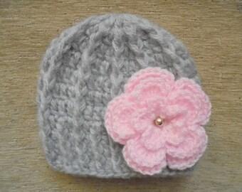 Mohair baby hat Newborn girl hat Gray baby hat Baby girl hat Crochet baby hat Winter baby girl hat Newborn crochet hat Crochet baby beanie