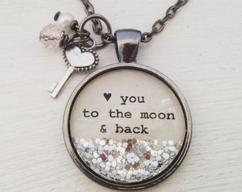 Love you to the moon and back sparkle charm necklace