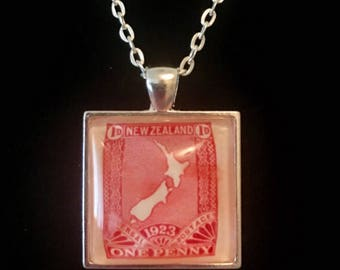 New Zealand Postage Stamp Necklace