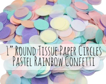 300 Pastel Confetti Tissue Paper Circles, Rainbow Unicorn Colors, Mint, Pink, Peach,Lavender, Cream, Birthday Party Decoration, Party Supply