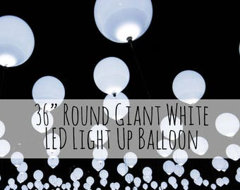 "36"" Extra Large White Balloon that Light Up, Jumbo LED Balloon, Glow Balloons, Wedding Decorations, Birthday Party Decorations, Night Lights"