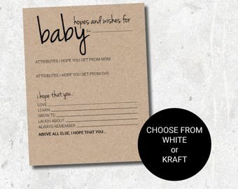 Baby Shower Game: Hopes and Wishes for Baby