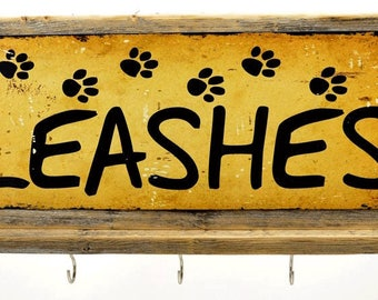 Key Hooks Leashes Metal Sign, Leash, Framed, Hall Organizer 20064-hook